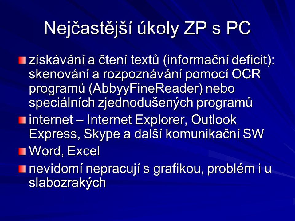 Nejčastější úkoly ZP s PC