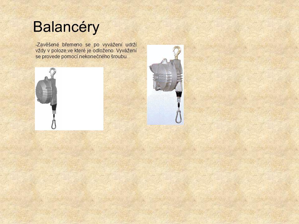 Balancéry -Zavěšené břemeno se po vyvážení udrží vždy v poloze,ve které je odloženo.
