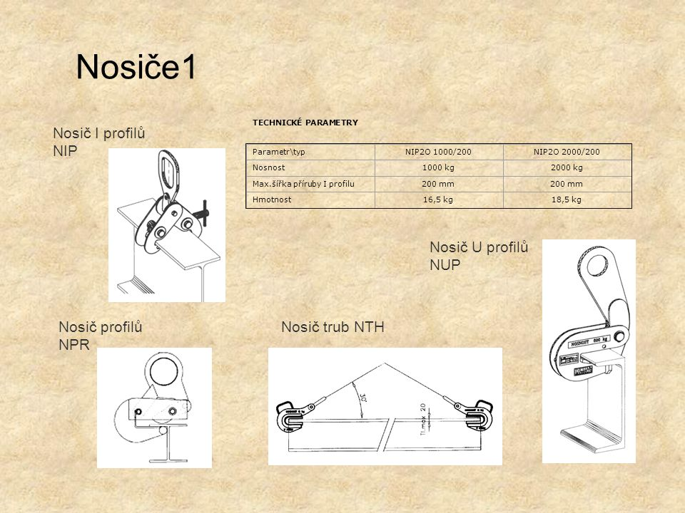 Nosiče1 Nosič I profilů NIP Nosič U profilů NUP Nosič profilů NPR