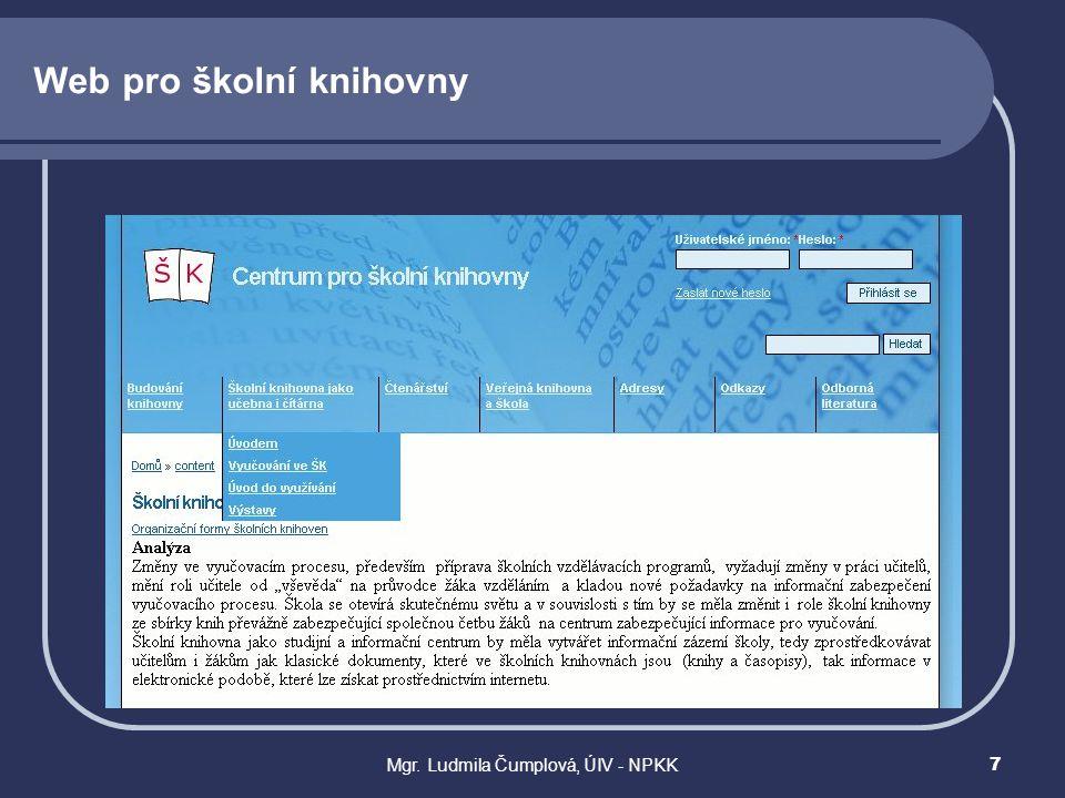Web pro školní knihovny