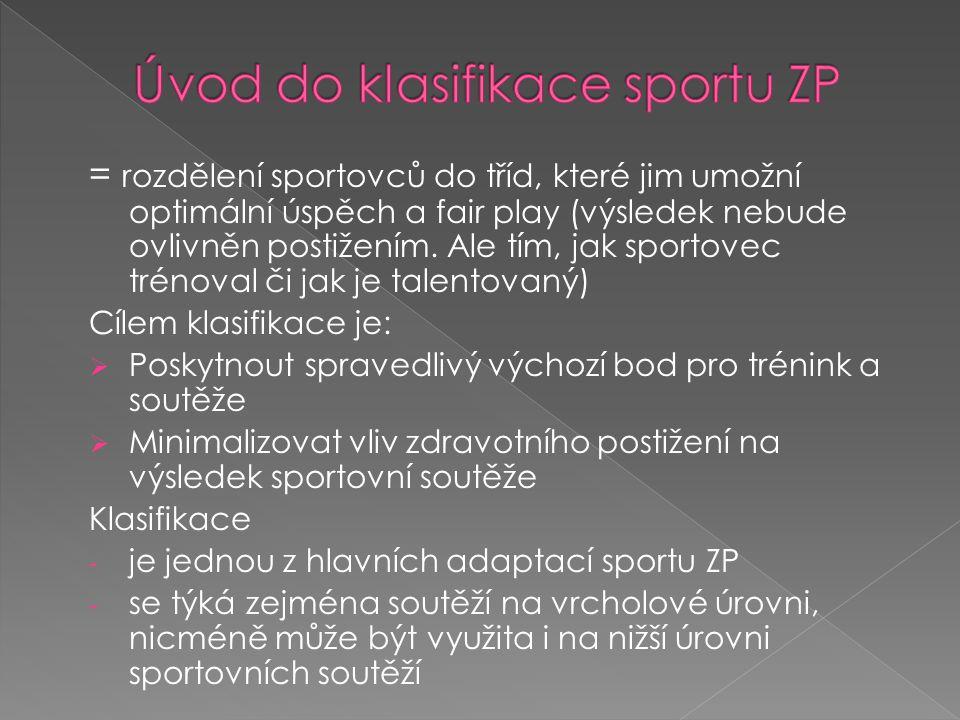 Úvod do klasifikace sportu ZP