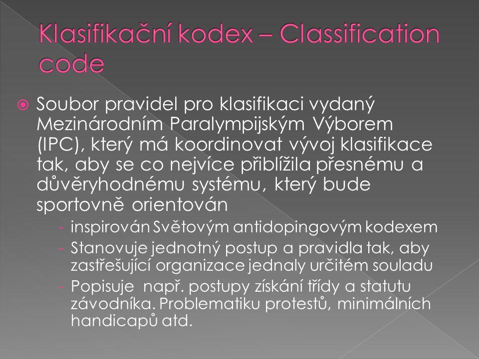 Klasifikační kodex – Classification code
