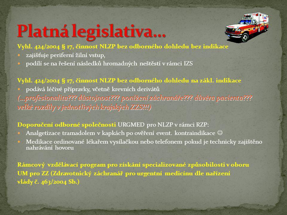 Platná legislativa… Vyhl. 424/2004 § 17, činnost NLZP bez odborného dohledu bez indikace. zajišťuje periferní žilní vstup,