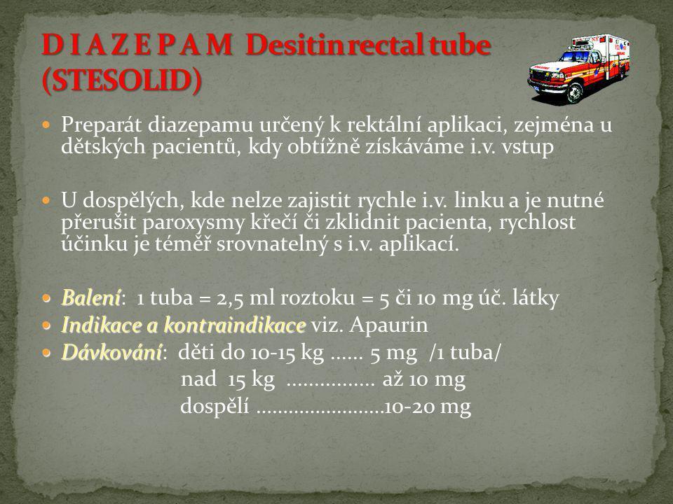 D I A Z E P A M Desitin rectal tube (STESOLID)