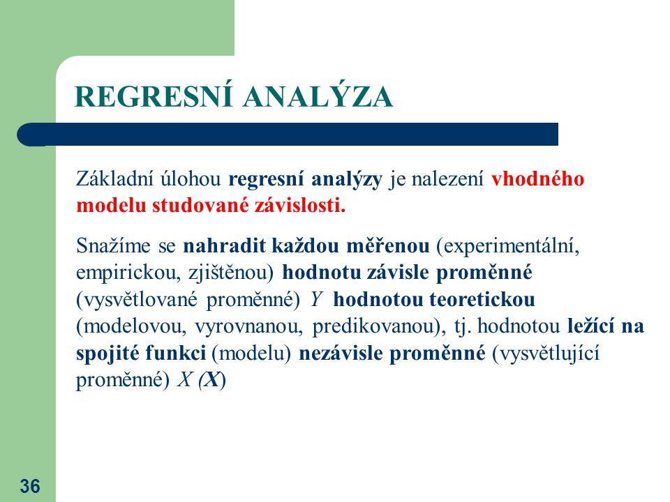 REGRESNÍ ANALÝZA Základní úlohou regresní analýzy je nalezení vhodného modelu studované závislosti.