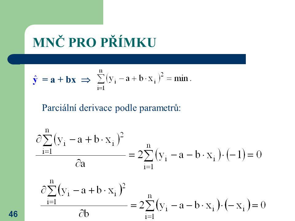 MNČ PRO PŘÍMKU = a + bx  Parciální derivace podle parametrů: