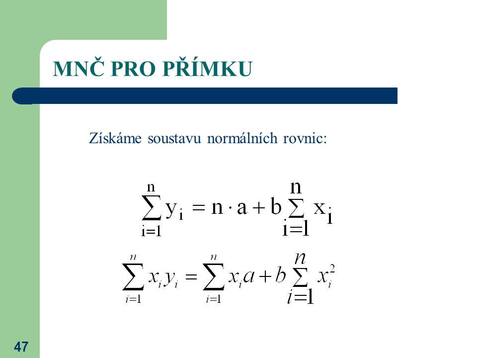 MNČ PRO PŘÍMKU Získáme soustavu normálních rovnic: