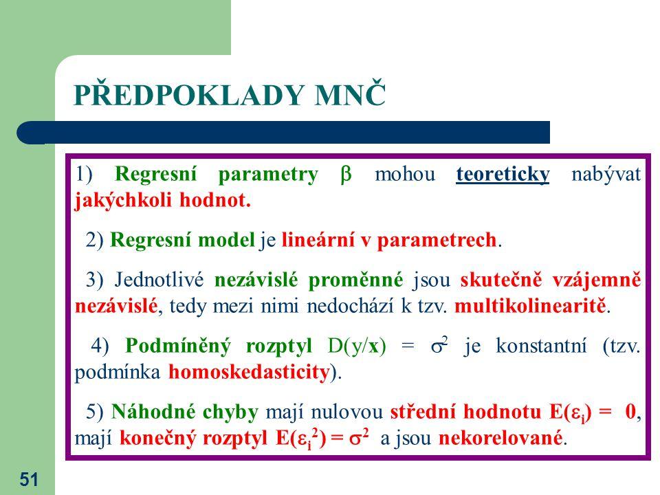 PŘEDPOKLADY MNČ 1) Regresní parametry  mohou teoreticky nabývat jakýchkoli hodnot. 2) Regresní model je lineární v parametrech.