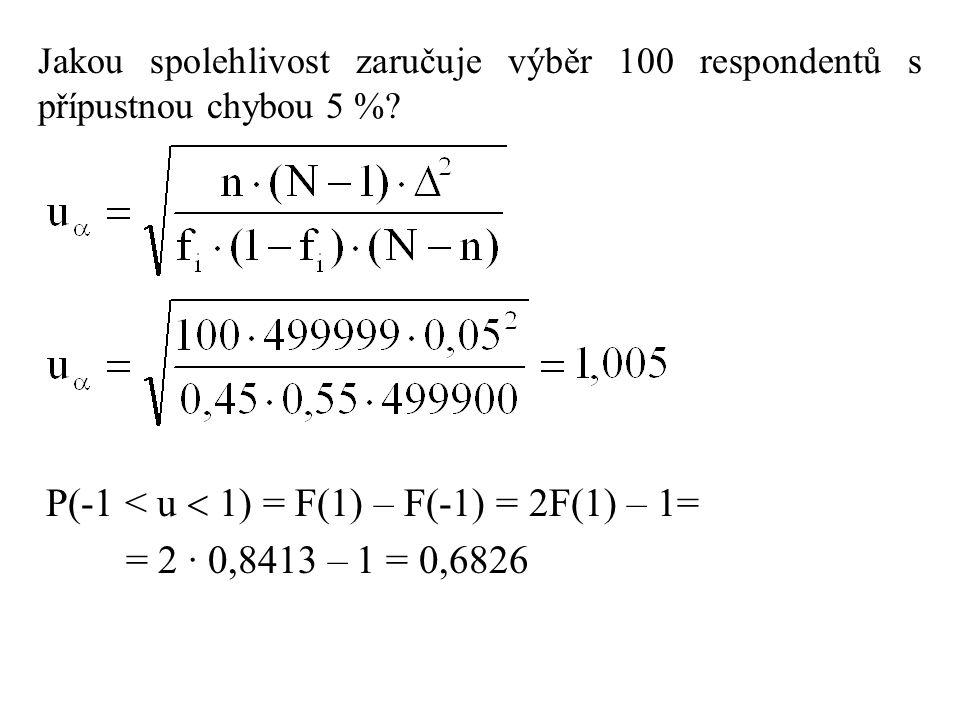 P(-1 < u  1) = F(1) – F(-1) = 2F(1) – 1= = 2 · 0,8413 – 1 = 0,6826