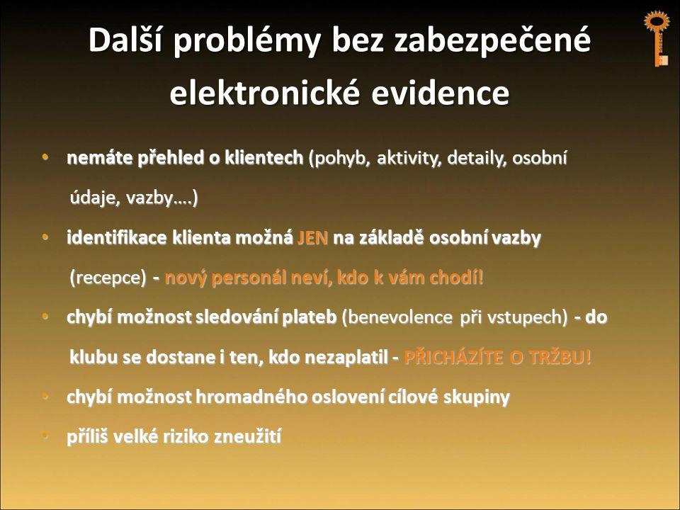 Další problémy bez zabezpečené elektronické evidence