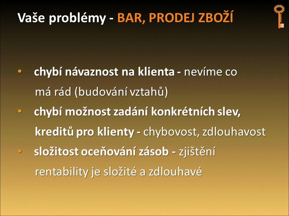 Vaše problémy - BAR, PRODEJ ZBOŽÍ