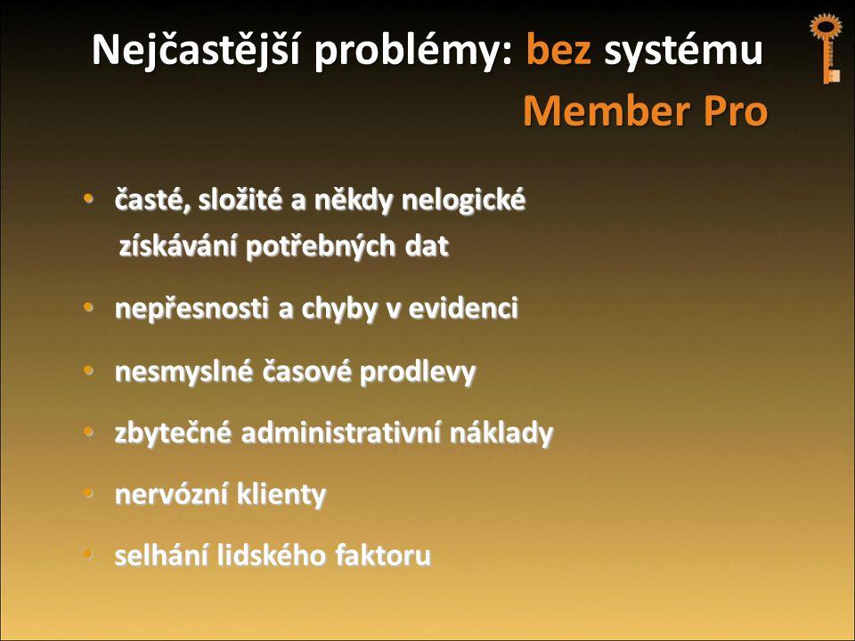 Nejčastější problémy: bez systému Member Pro