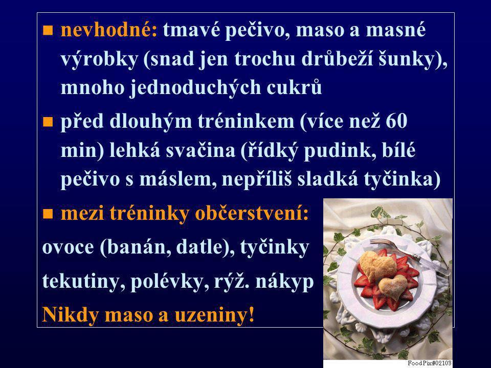 nevhodné: tmavé pečivo, maso a masné výrobky (snad jen trochu drůbeží šunky), mnoho jednoduchých cukrů