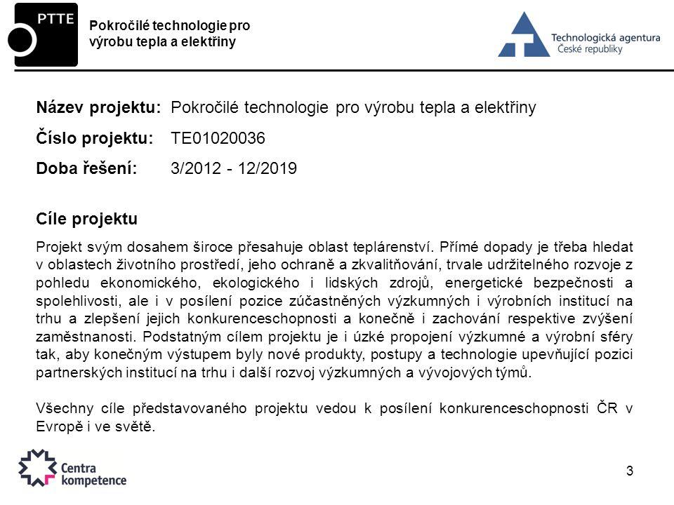 Název projektu: Pokročilé technologie pro výrobu tepla a elektřiny
