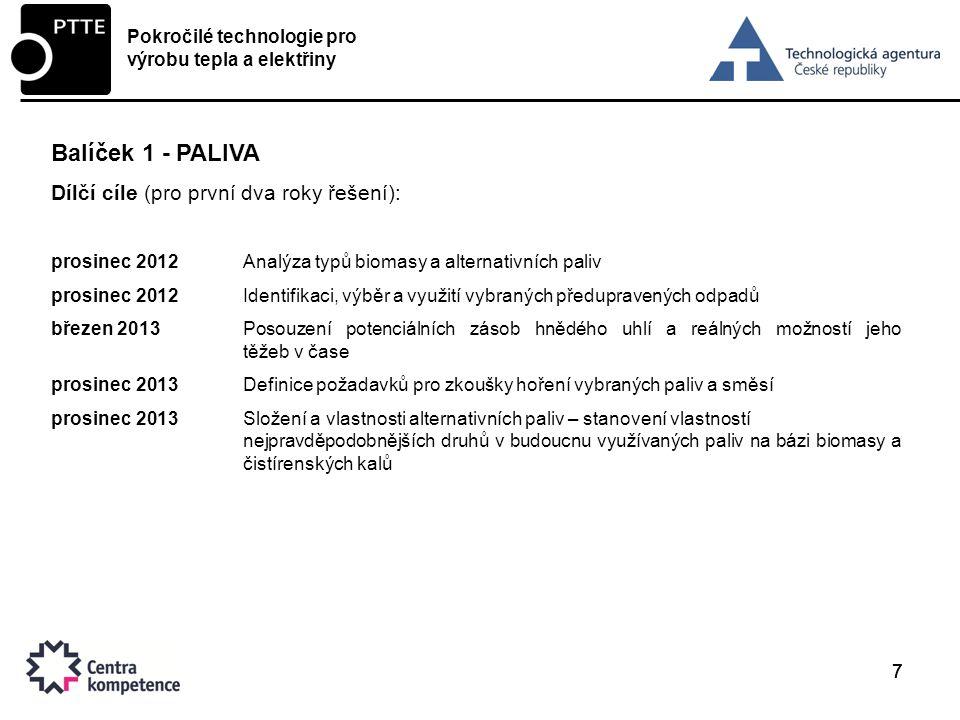 Balíček 1 - PALIVA Dílčí cíle (pro první dva roky řešení):