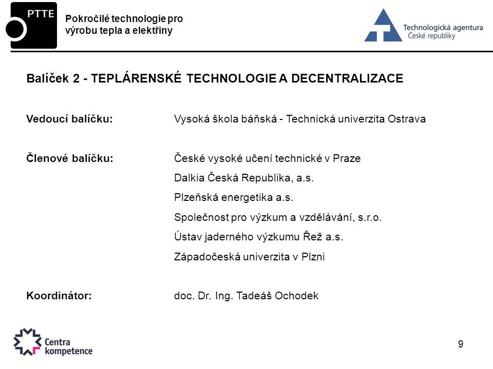 Balíček 2 - TEPLÁRENSKÉ TECHNOLOGIE A DECENTRALIZACE