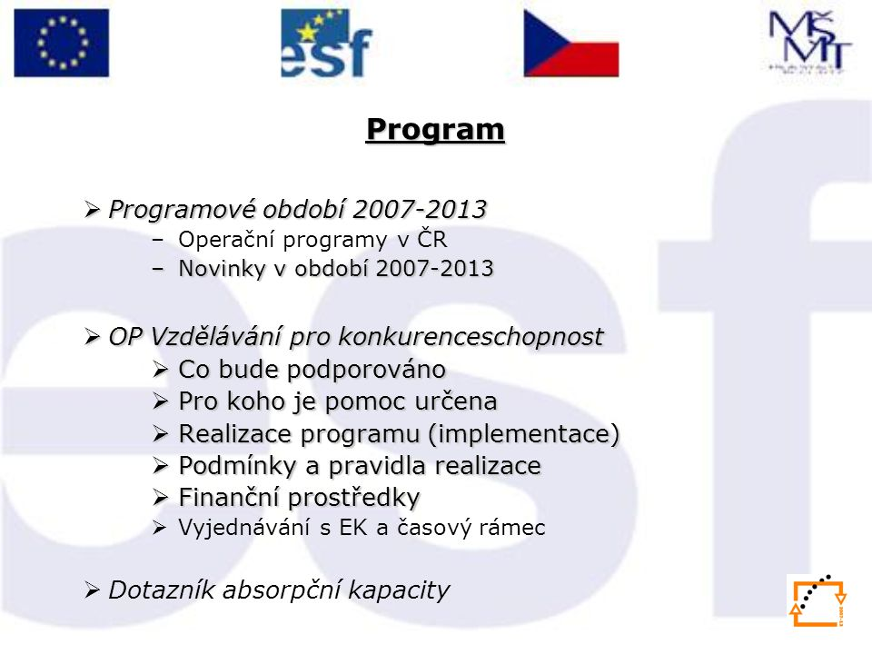 Program Programové období 2007-2013