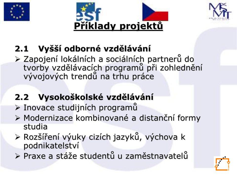 Příklady projektů 2.1 Vyšší odborné vzdělávání