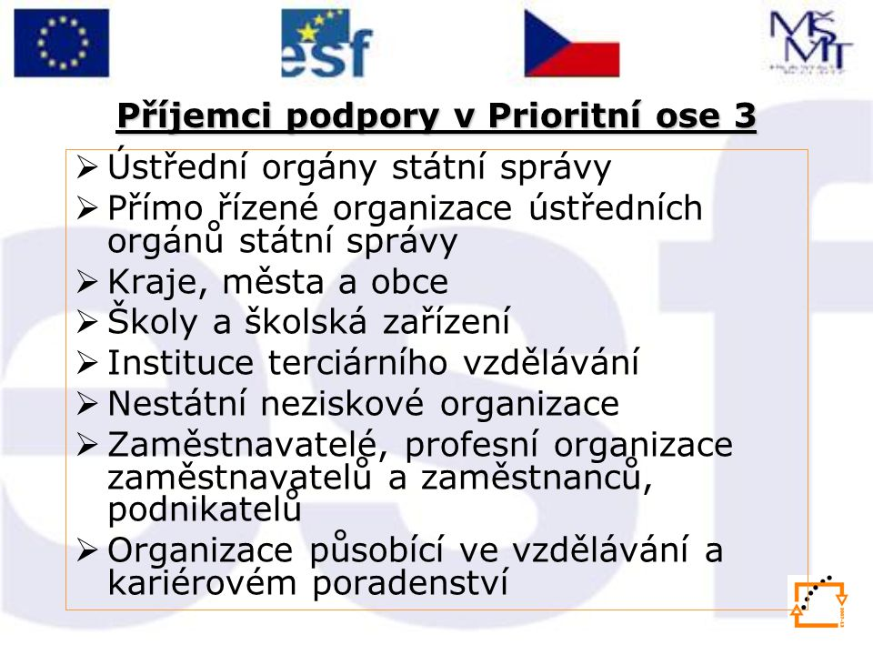Příjemci podpory v Prioritní ose 3