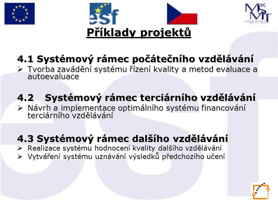 Příklady projektů 4.1 Systémový rámec počátečního vzdělávání