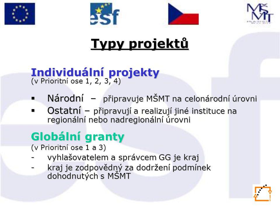 Typy projektů Individuální projekty Globální granty