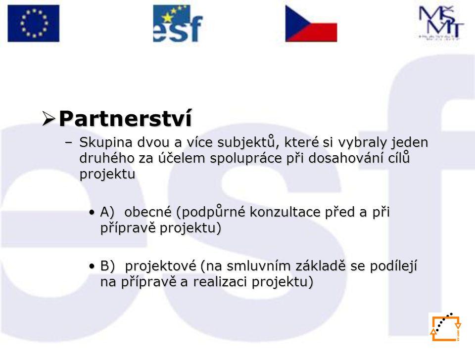 Partnerství Skupina dvou a více subjektů, které si vybraly jeden druhého za účelem spolupráce při dosahování cílů projektu.
