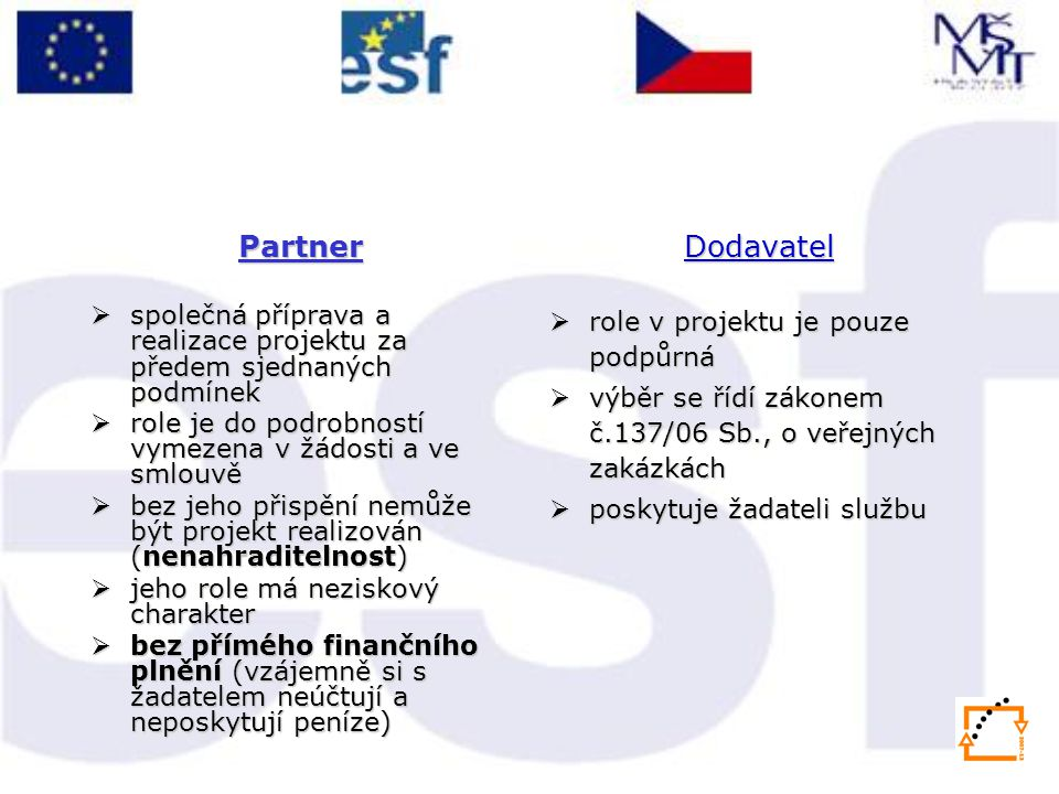 Partner společná příprava a realizace projektu za předem sjednaných podmínek. role je do podrobností vymezena v žádosti a ve smlouvě.