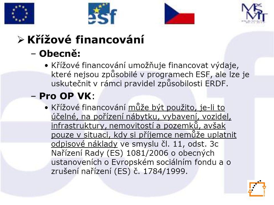 Křížové financování Obecně: Pro OP VK:
