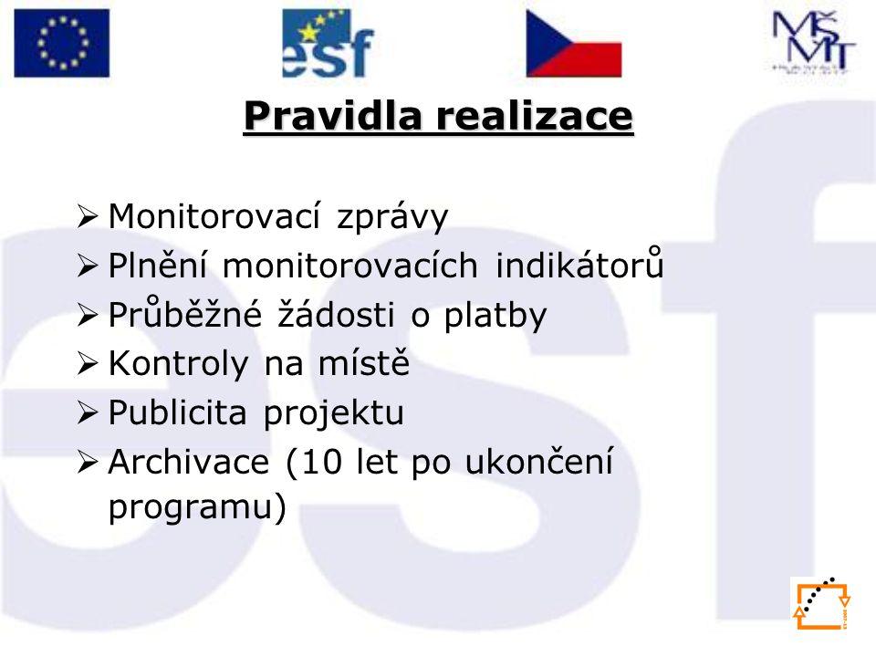 Pravidla realizace Monitorovací zprávy