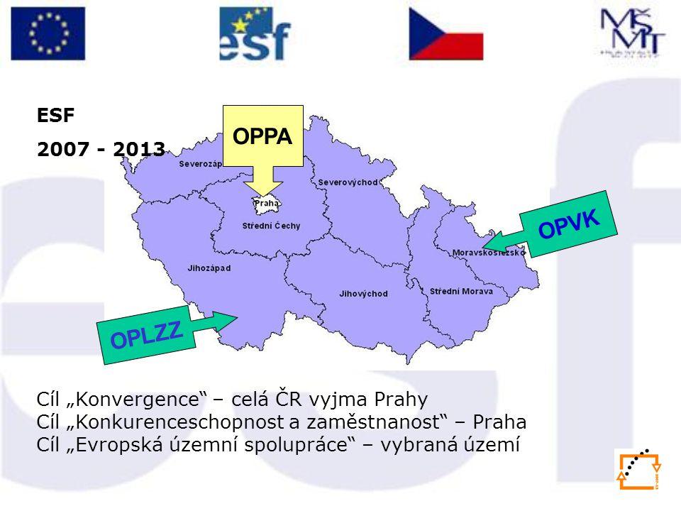"ESF 2007 - 2013. OPPA. OPVK. OPLZZ. Systémáky OPVK i Praha. Cíl ""Konvergence – celá ČR vyjma Prahy."