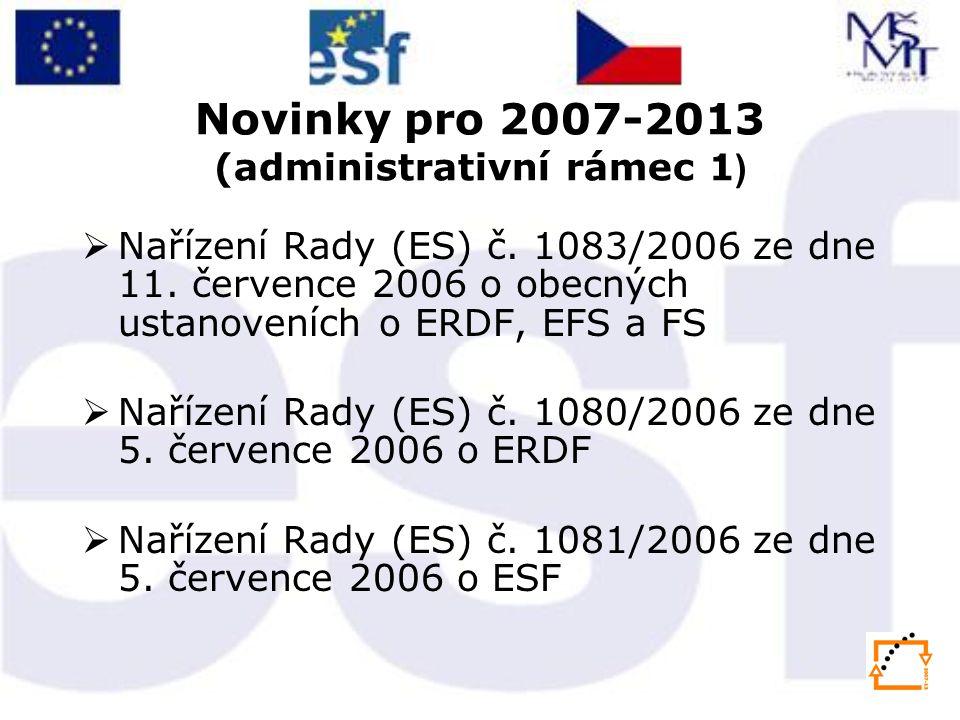 Novinky pro 2007-2013 (administrativní rámec 1)