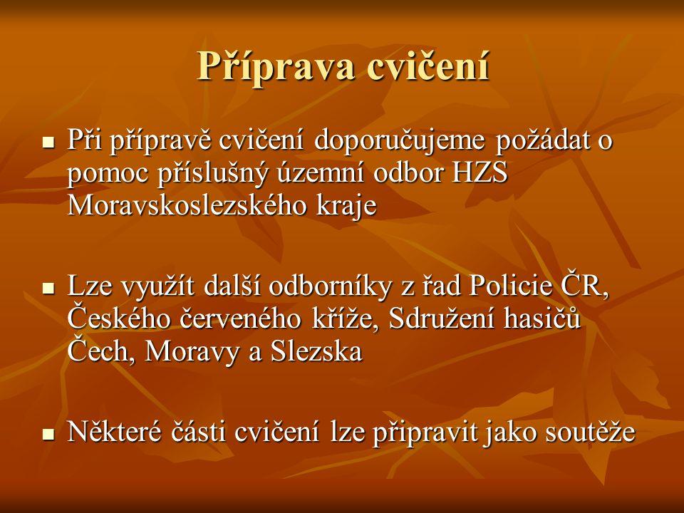 Příprava cvičení Při přípravě cvičení doporučujeme požádat o pomoc příslušný územní odbor HZS Moravskoslezského kraje.