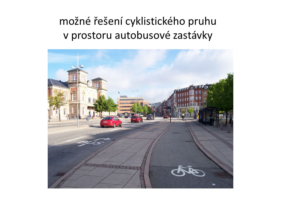 možné řešení cyklistického pruhu v prostoru autobusové zastávky