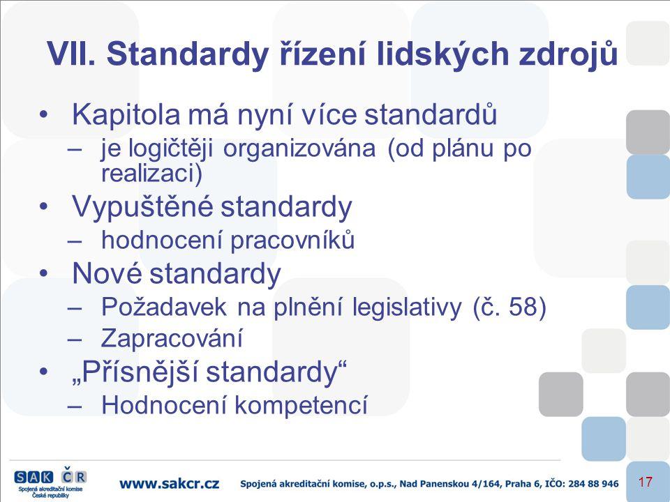 VII. Standardy řízení lidských zdrojů