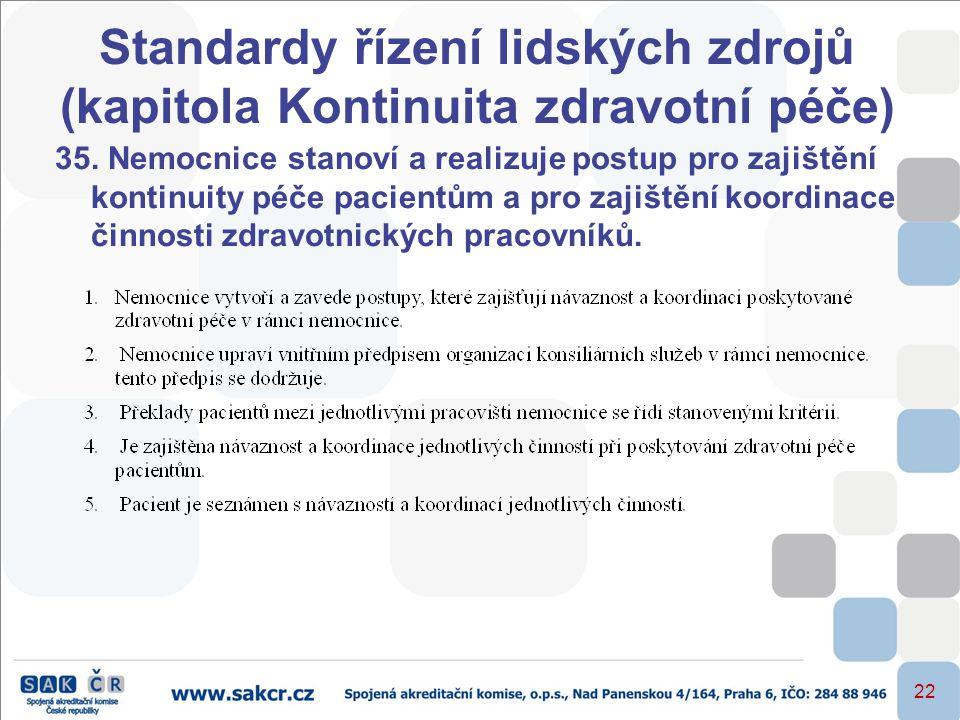 Standardy řízení lidských zdrojů (kapitola Kontinuita zdravotní péče)