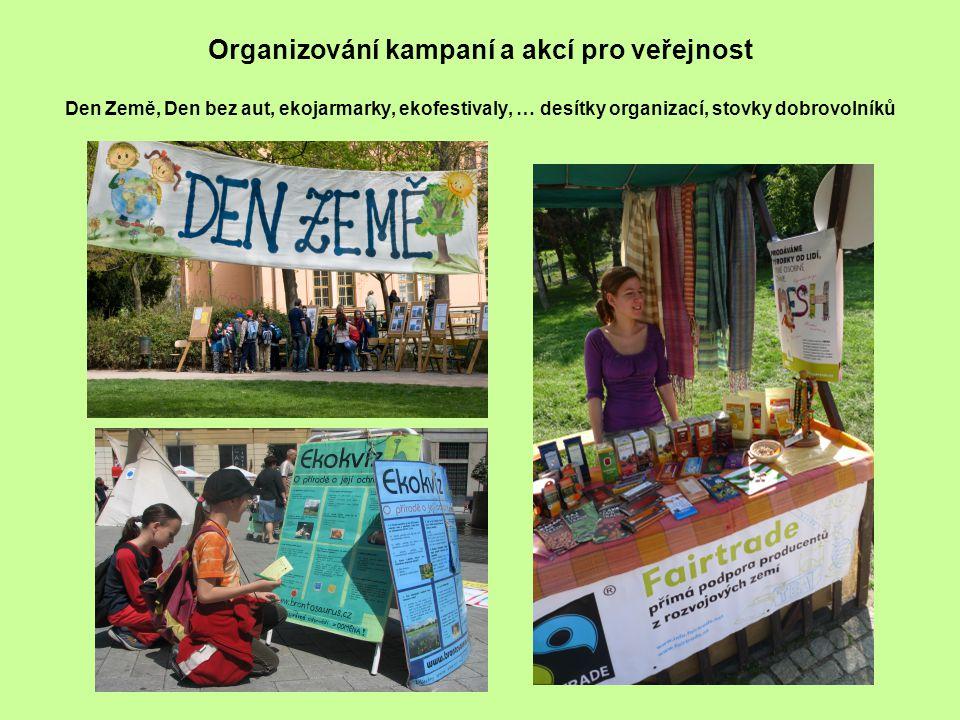 Organizování kampaní a akcí pro veřejnost Den Země, Den bez aut, ekojarmarky, ekofestivaly, … desítky organizací, stovky dobrovolníků
