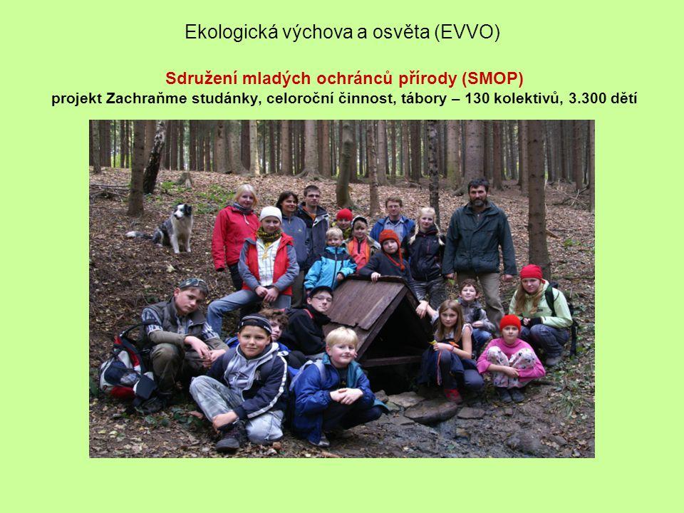 Ekologická výchova a osvěta (EVVO) Sdružení mladých ochránců přírody (SMOP) projekt Zachraňme studánky, celoroční činnost, tábory – 130 kolektivů, 3.300 dětí