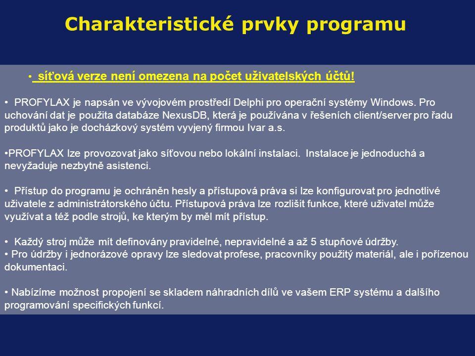 Charakteristické prvky programu