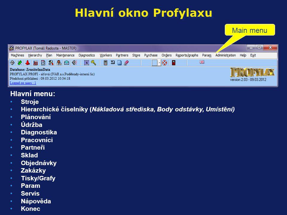 Hlavní okno Profylaxu Main menu Hlavní menu: Stroje