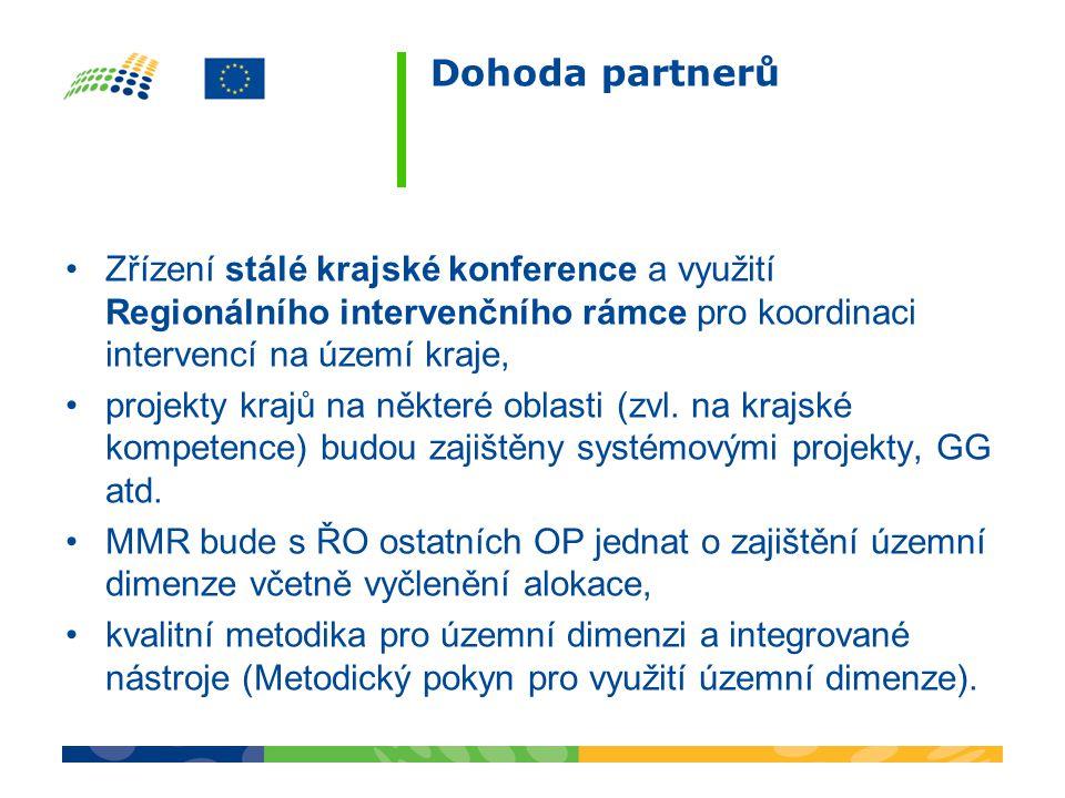 Dohoda partnerů Zřízení stálé krajské konference a využití Regionálního intervenčního rámce pro koordinaci intervencí na území kraje,