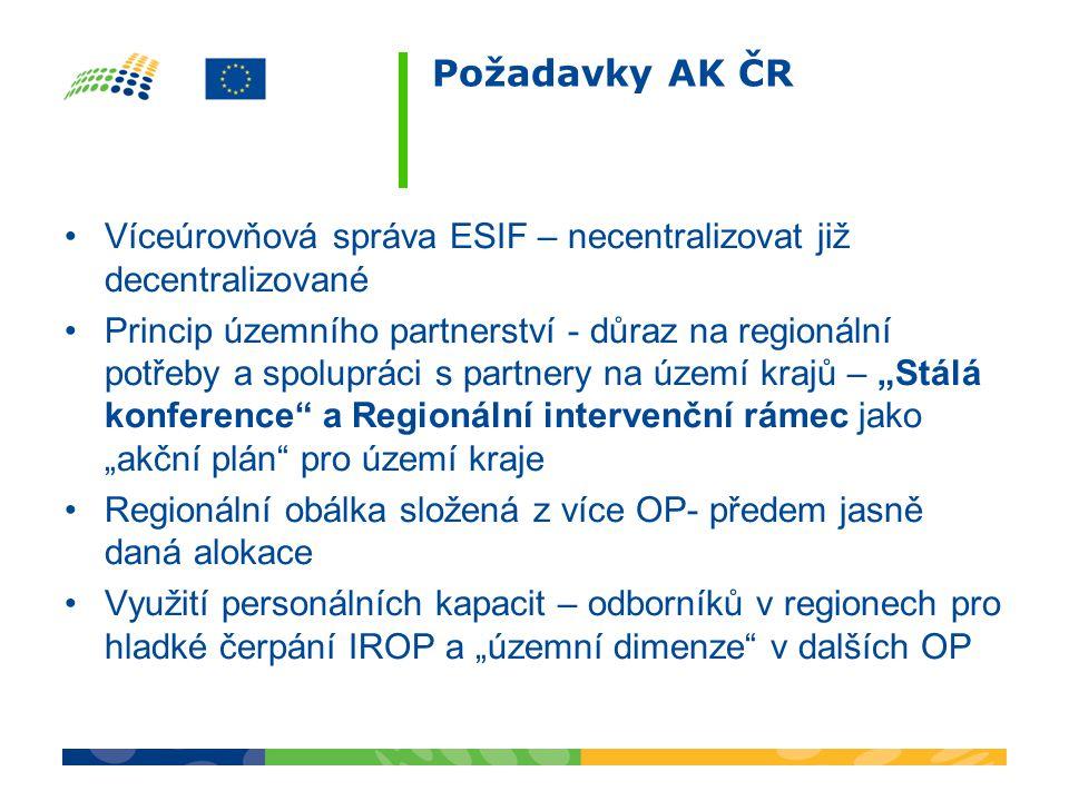 Požadavky AK ČR Víceúrovňová správa ESIF – necentralizovat již decentralizované.