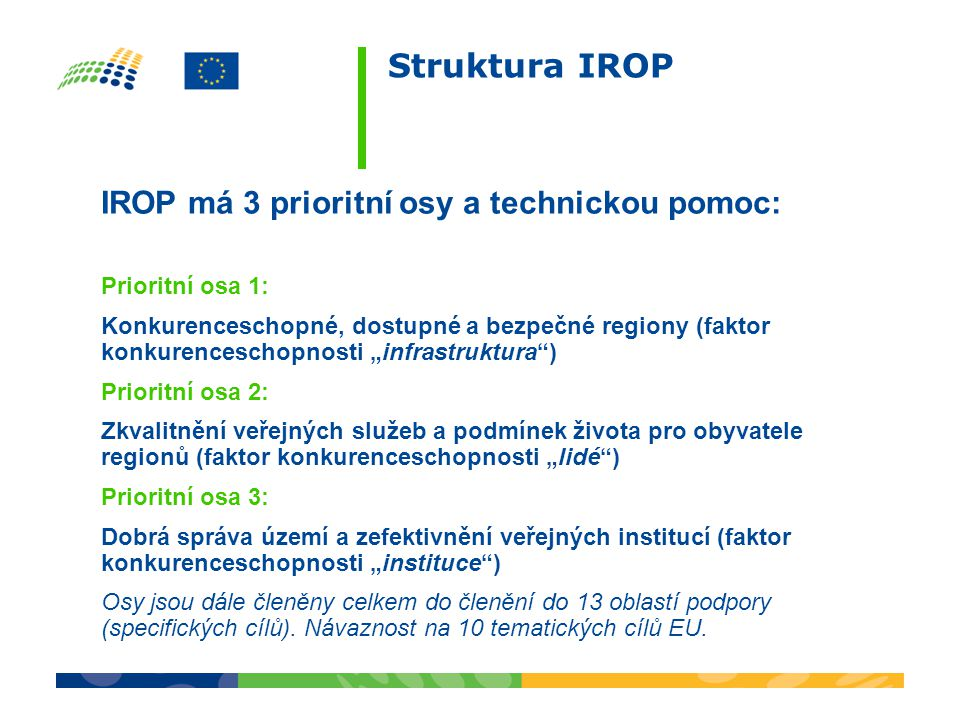 Struktura IROP IROP má 3 prioritní osy a technickou pomoc: