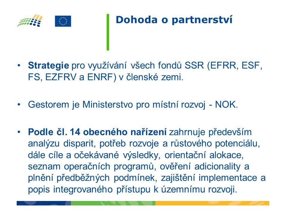 Dohoda o partnerství Strategie pro využívání všech fondů SSR (EFRR, ESF, FS, EZFRV a ENRF) v členské zemi.