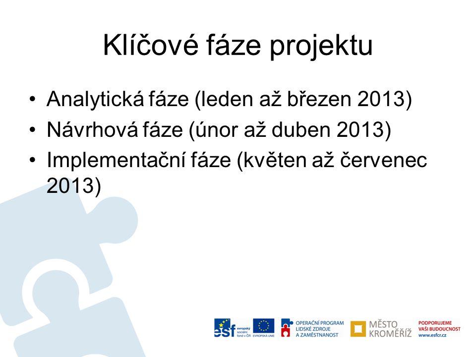 Klíčové fáze projektu Analytická fáze (leden až březen 2013)