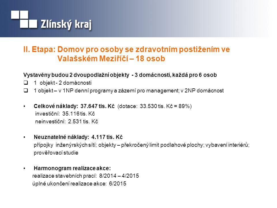 II. Etapa: Domov pro osoby se zdravotním postižením ve Valašském Meziříčí – 18 osob