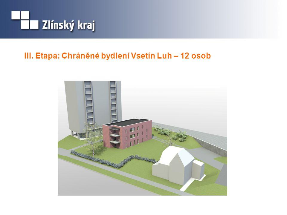 III. Etapa: Chráněné bydlení Vsetín Luh – 12 osob