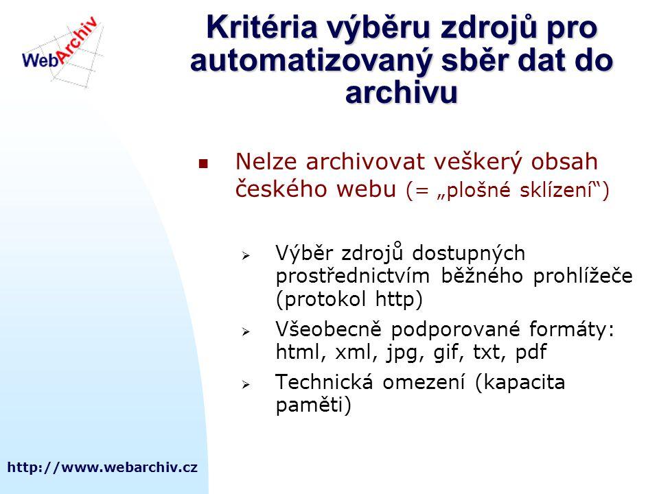 Kritéria výběru zdrojů pro automatizovaný sběr dat do archivu
