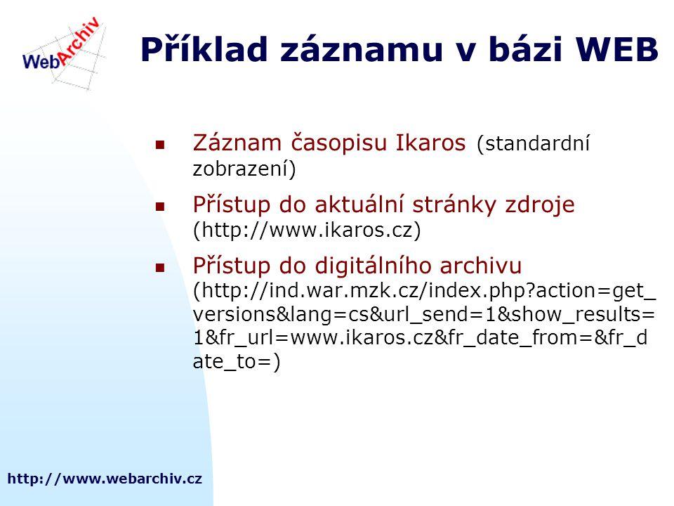 Příklad záznamu v bázi WEB