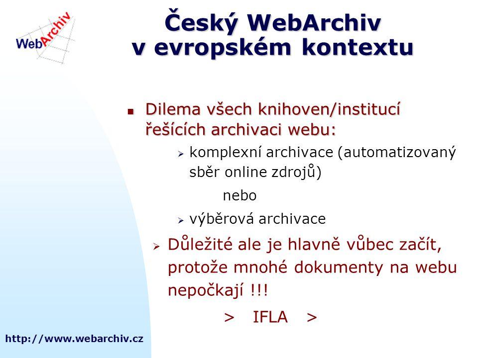 Český WebArchiv v evropském kontextu