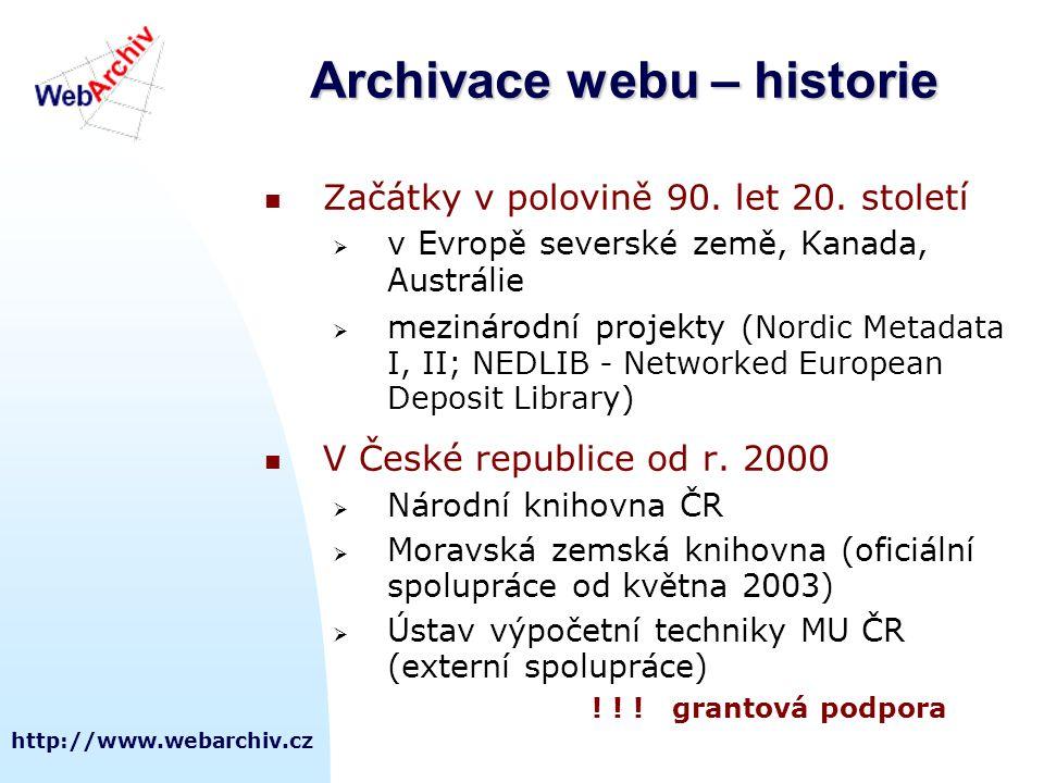 Archivace webu – historie